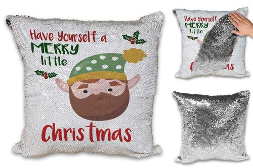 Merry Little Christmas Beard Elf Novelty Sequin Reveal Magic Cushion Cover